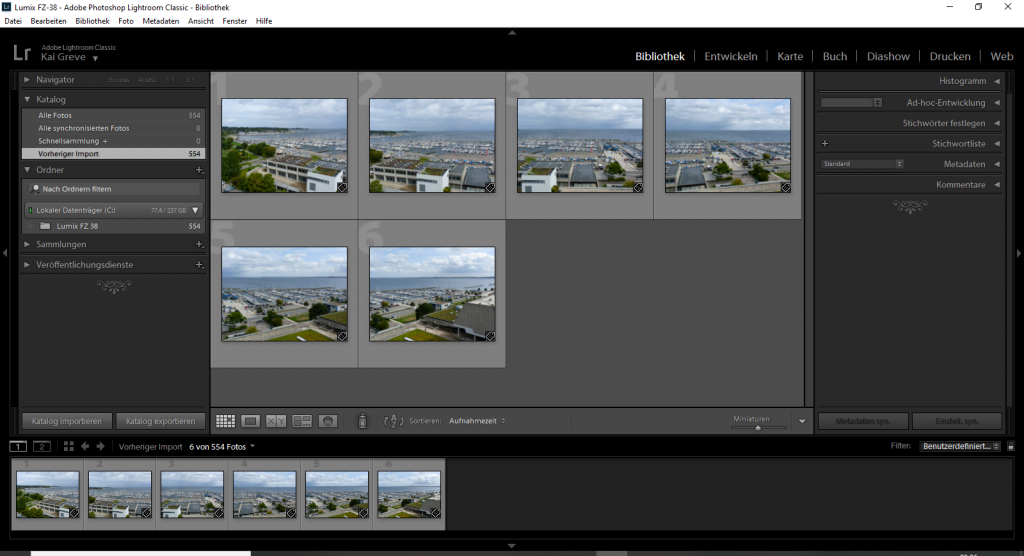 Screenshot von Lightroom